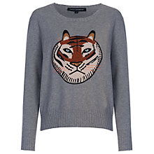 Buy French Connection Tiger Appliqué Jumper, Mid Grey Mel Online at johnlewis.com