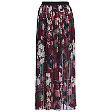 Buy French Connection Bloomsbury Garden Pleated Maxi Skirt, Berry Red/Multi Online at johnlewis.com