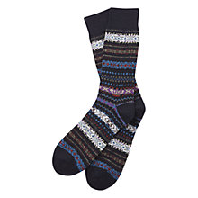 Buy Barbour Boyd Fair Isle Socks, Navy Online at johnlewis.com