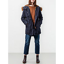 Buy Parka London Lara Faux Fur Lined Parka, Navy Online at johnlewis.com