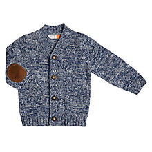 Buy John Lewis Baby Elbow Patch Cardigan, Blue Online at johnlewis.com