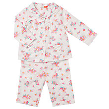 Buy John Lewis Baby Floral Print Woven Pyjamas, Cream Online at johnlewis.com