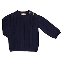 Buy John Lewis Baby Cable Knit Jumper, Navy Online at johnlewis.com