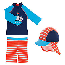 Buy John Lewis Baby Pirate Boat UV SunPro Three Piece Set, Blue/Red Online at johnlewis.com