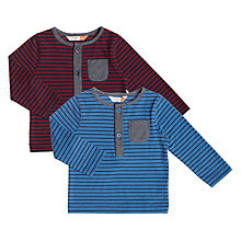 Buy John Lewis Baby Striped Pocket T-Shirt, Pack of 2, Blue/Red Online at johnlewis.com
