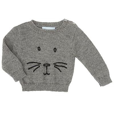 Serendipity Baby Rabbit Llama Wool Sweater, Grey