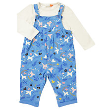 Buy John Lewis Baby Bird Print Dungaree Set, Blue/Multi Online at johnlewis.com