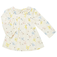 Buy John Lewis Baby Floral Long Sleeve Blouse, Cream Online at johnlewis.com