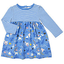 Buy John Lewis Baby Striped Bird Skater Dress, Blue Online at johnlewis.com
