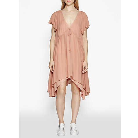Buy French Connection Brooke Drape Frill Dress, Ballet Blush Online at johnlewis.com
