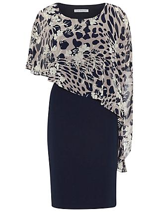 Gina Bacconi Plain Dress With Animal Floral Cape, Navy