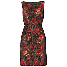 Buy Gina Bacconi Matelasse Metallic Sleeveless Jacquard Dress, Red/Black Online at johnlewis.com