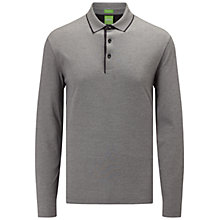 Buy BOSS Green C-Prato Long Sleeve Polo Shirt, Charcoal Online at johnlewis.com