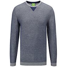 Buy BOSS Green Rix Cotton Wool Jumper, Open Blue Online at johnlewis.com