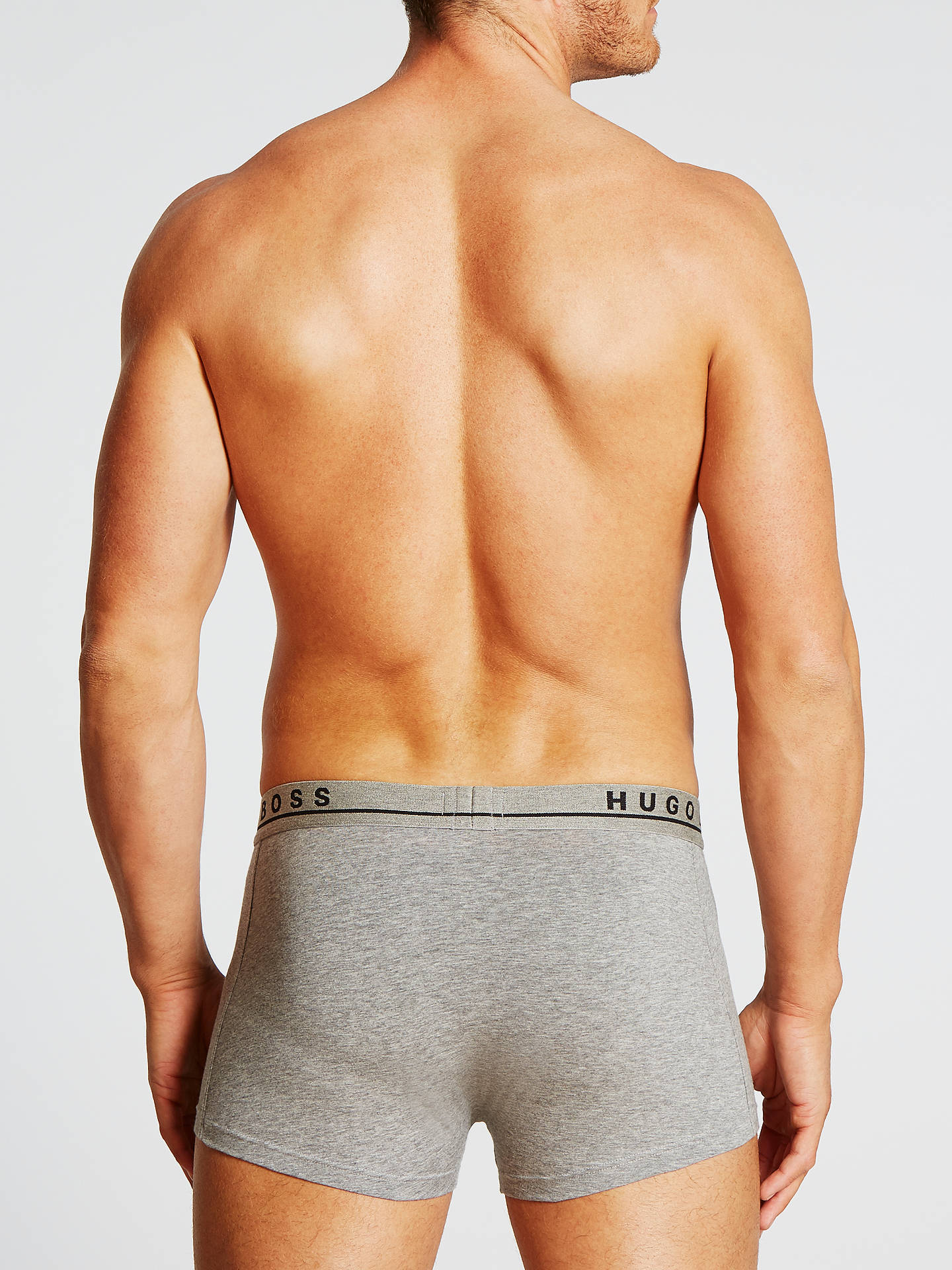 BuyBOSS Stretch Cotton Trunks, Pack of 3, Grey/White/Black, L Online at johnlewis.com