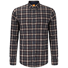 Buy BOSS Orange Edipo Check Slim Fit Shirt, Rust/Copper Online at johnlewis.com
