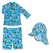 Buy John Lewis Baby Strawberry UV SunPro Three Piece Tankini Set, Blue Online at johnlewis.com