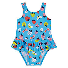 Buy John Lewis Baby Strawberry Print Swimsuit, Blue Online at johnlewis.com
