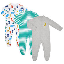 Buy John Lewis Baby Stripe Jungle Animal Organic GOTS Cotton Sleepsuit, Pack of 3, Grey/Multi Online at johnlewis.com