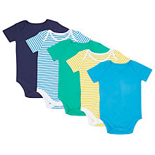 Buy John Lewis Baby Short Sleeve Organic GOTS Cotton Bodysuit, Pack of 5, Assorted Online at johnlewis.com