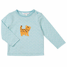 Buy John Lewis Baby Leopard Crochet Applique Top, Blue Online at johnlewis.com