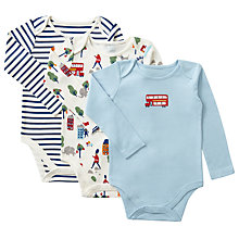 Buy John Lewis Baby London ThemeLong Sleeve Bodysuit, Pack of 3, Blue/Multi Online at johnlewis.com