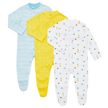 Buy John Lewis Baby Nautical Organic GOTS Cotton Sleepsuit, Pack of 3, Yellow/Multi Online at johnlewis.com