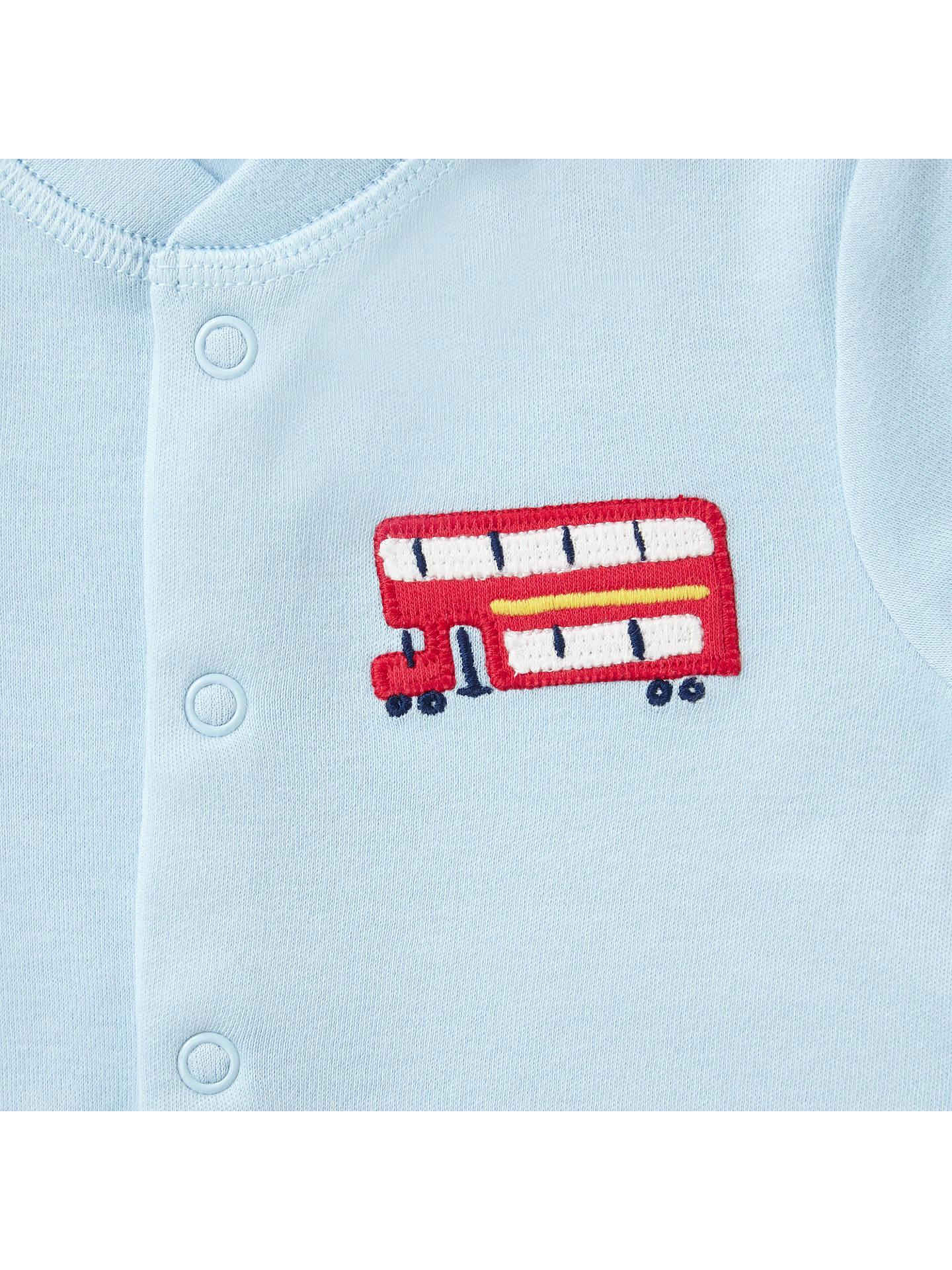 John Lewis & Partners Baby London Bus Sleepsuit Pack of 3 Blue