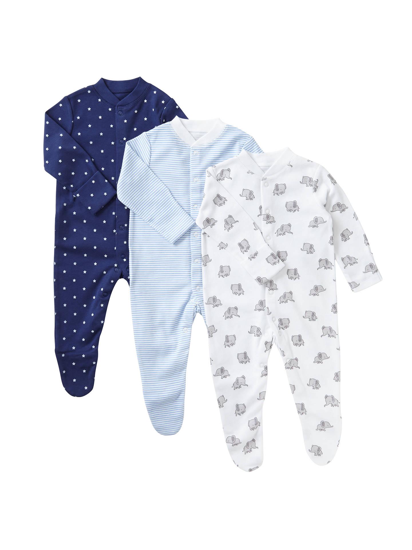 1fcfc0586 Buy John Lewis & Partners Baby Elephant Stars Long Sleeve Organic GOTS  Cotton Sleepsuit, Pack ...