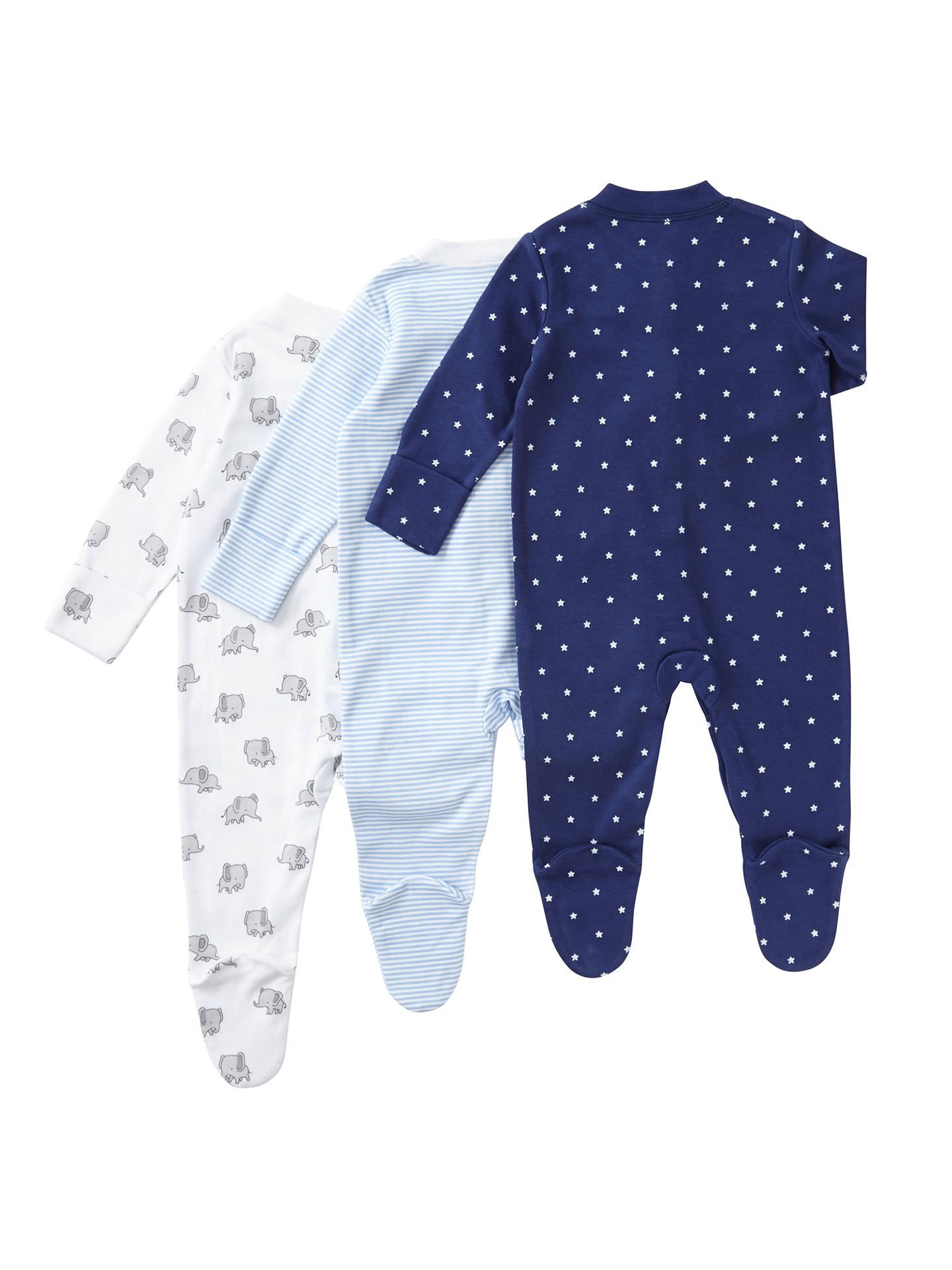 lewis john gots sleepsuit elephant organic cotton sleeve pack stars partners johnlewis
