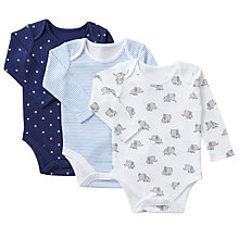 Buy John Lewis Baby Organic Cotton Elephant and Stars Bodysuit, Pack of 3, Blue/White Online at johnlewis.com
