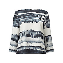 Buy Phase Eight Alannah Print Blouse, Black/Ivory Online at johnlewis.com