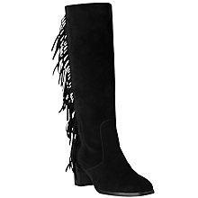 Buy L.K. Bennett Corine Fringe Block Heel Knee Boots, Black Suede Online at johnlewis.com
