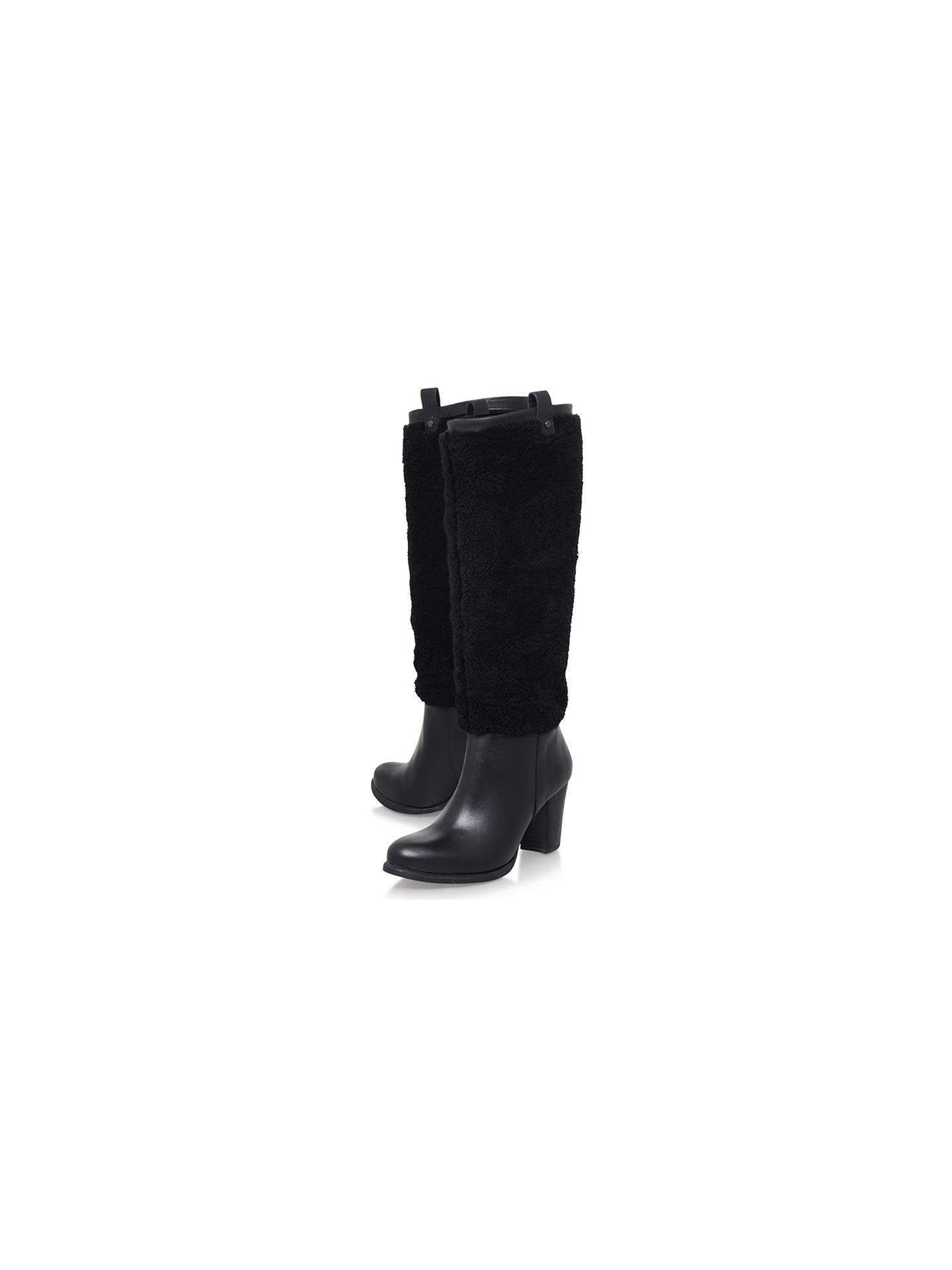 b20a1638c7 UGG Ava Exposed Fur Knee High Boots, Black at John Lewis & Partners