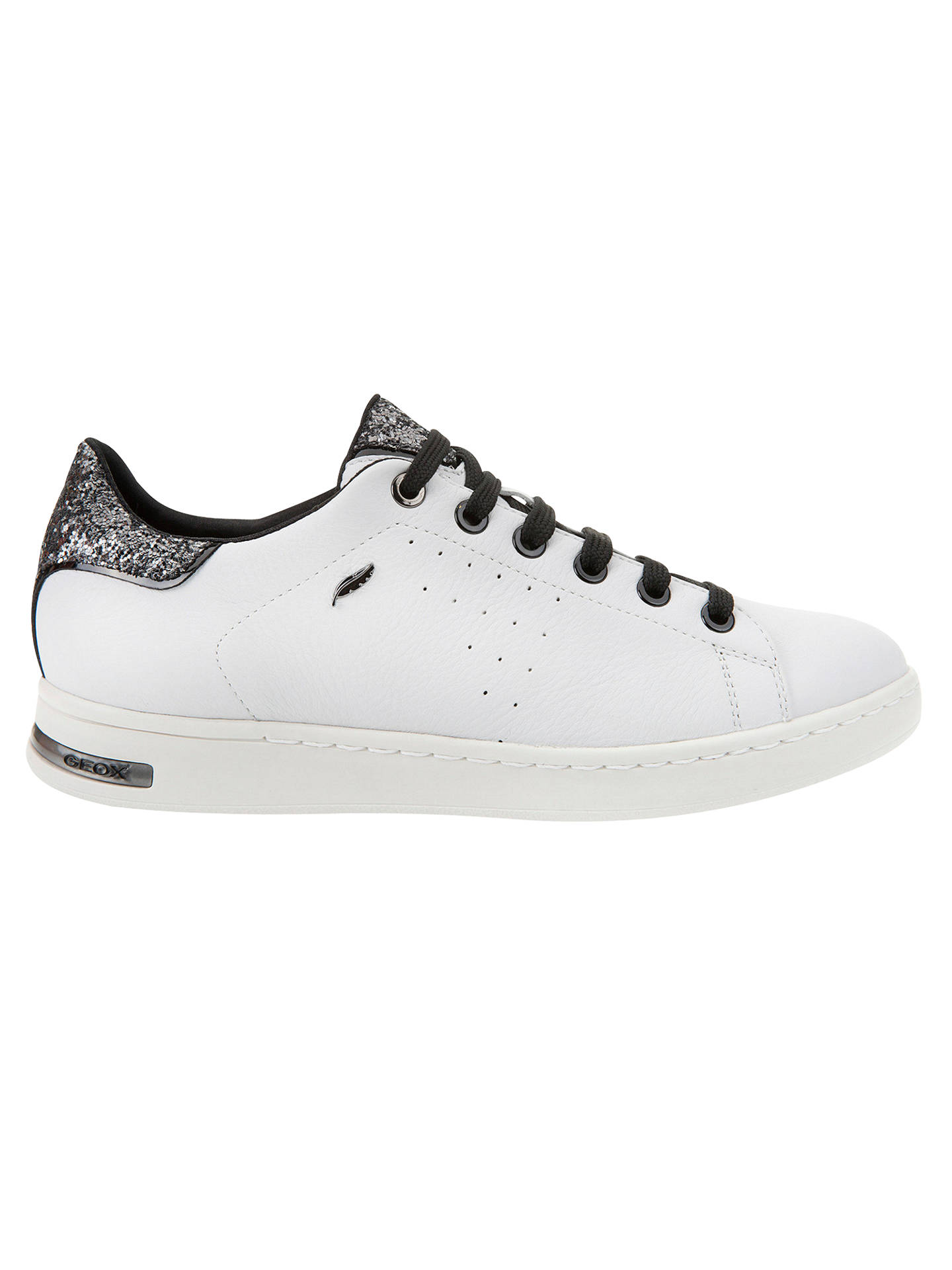 80f34225c8 Buy Geox Jaysen Glitter Lace Up Trainers, White/Silver, 3 Online at  johnlewis ...