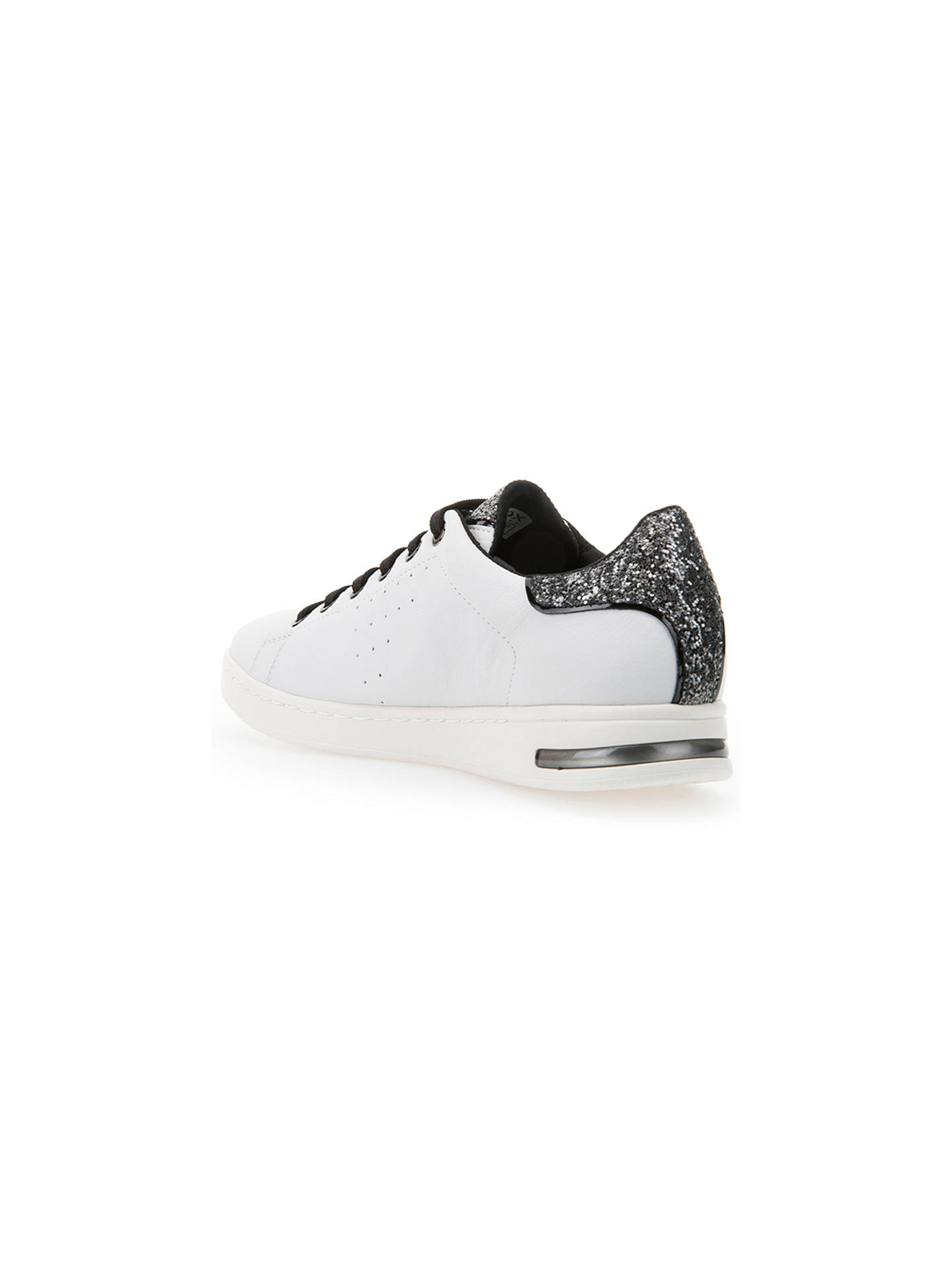 d34dc16213 ... Buy Geox Jaysen Glitter Lace Up Trainers, White/Silver, 3 Online at  johnlewis ...