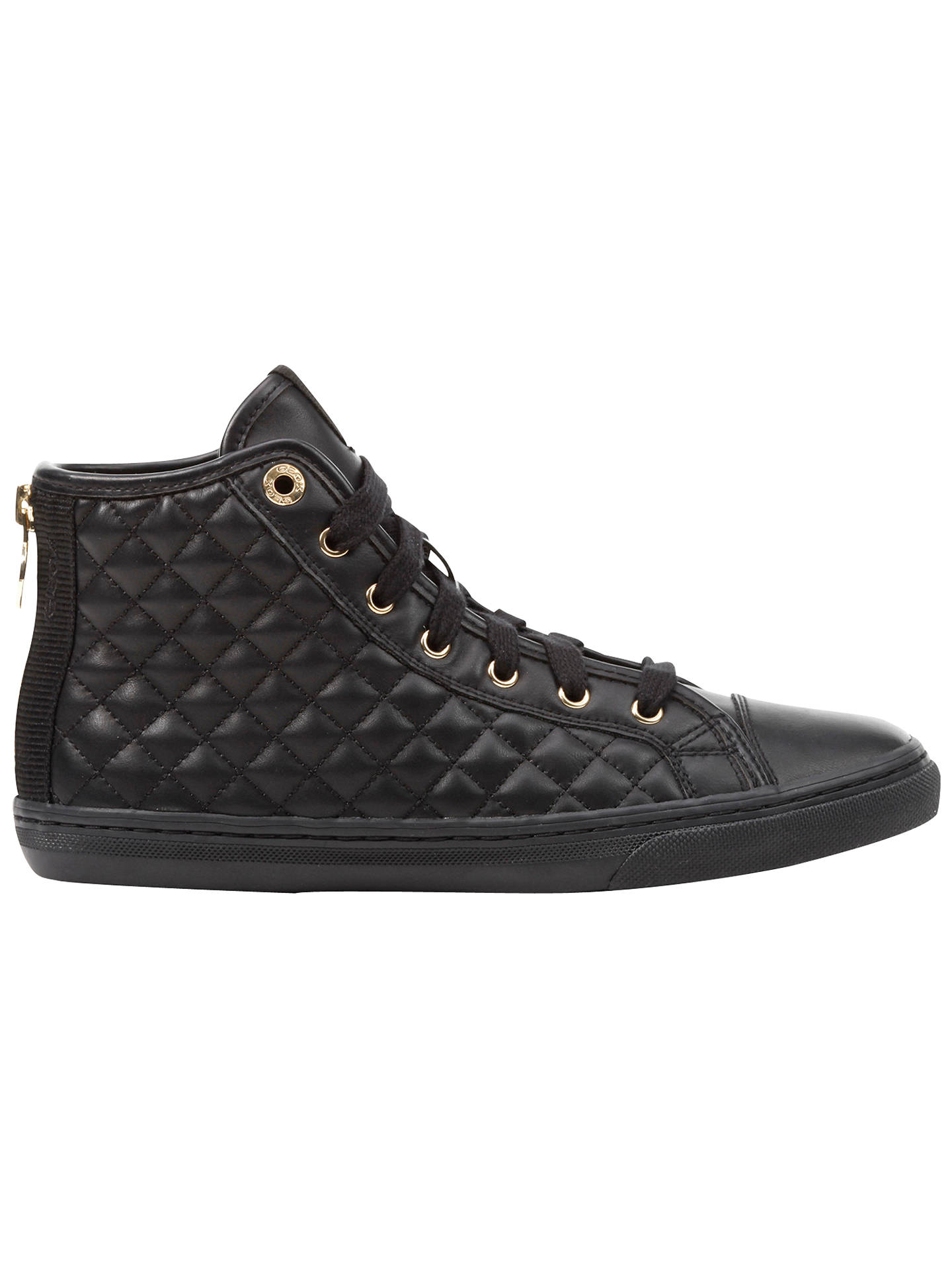c86ac06f4f Buy Geox New Club Quilted High Top Trainers, Black, 3 Online at johnlewis.