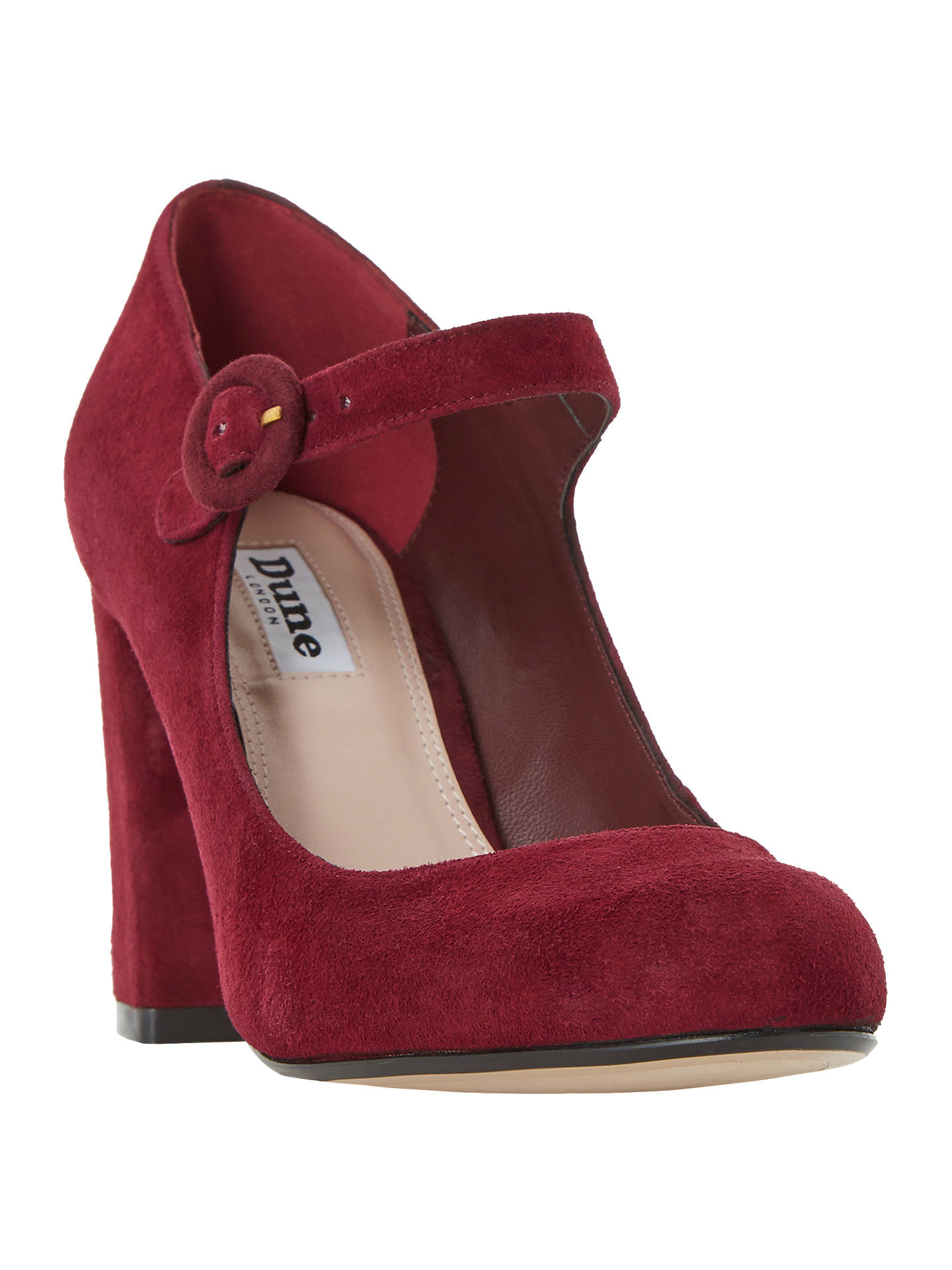 BuyDune Armorel Mary Jane Block Heel Court Shoes, Burgundy Suede, 3 Online at johnlewis.com