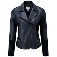 Buy Pure Collection Fenwick Suede Trim Biker, Ink Online at johnlewis.com