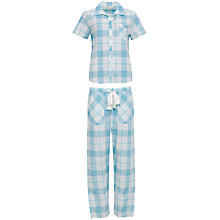 Buy Cyberjammies Camilla Check Print Short Sleeved Pyjama Set, Aqua Online at johnlewis.com