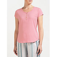 Buy John Lewis Short Sleeve Henley Pyjama Top, Pink Online at johnlewis.com
