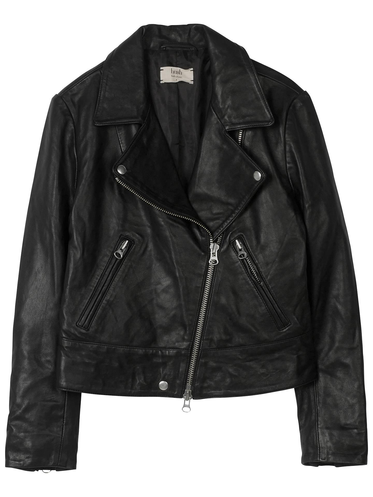 074198bf0 hush Onyx Leather Jacket, Black at John Lewis & Partners