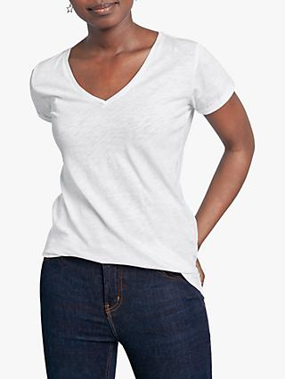 hush Cotton Slub V-Neck T-Shirt, White