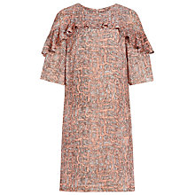 Buy Reiss Roxanne Printed Dress, Coral/Black Online at johnlewis.com