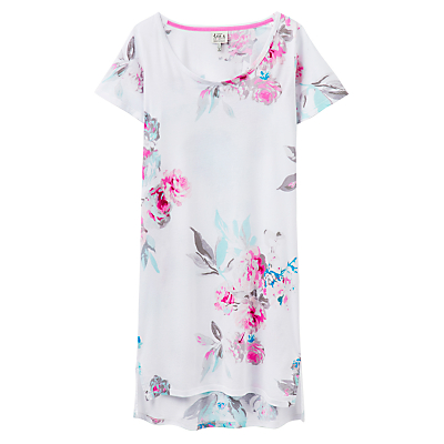 Joules Florian Short Sleeve Night Dress, White Floral