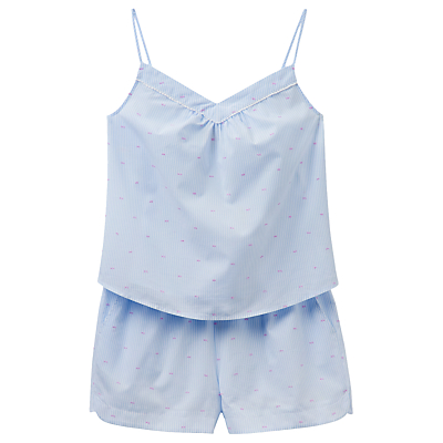 Joules Minny Stripe Dobby Camisole And Short Set, Blue/Pink, Blue/Pink