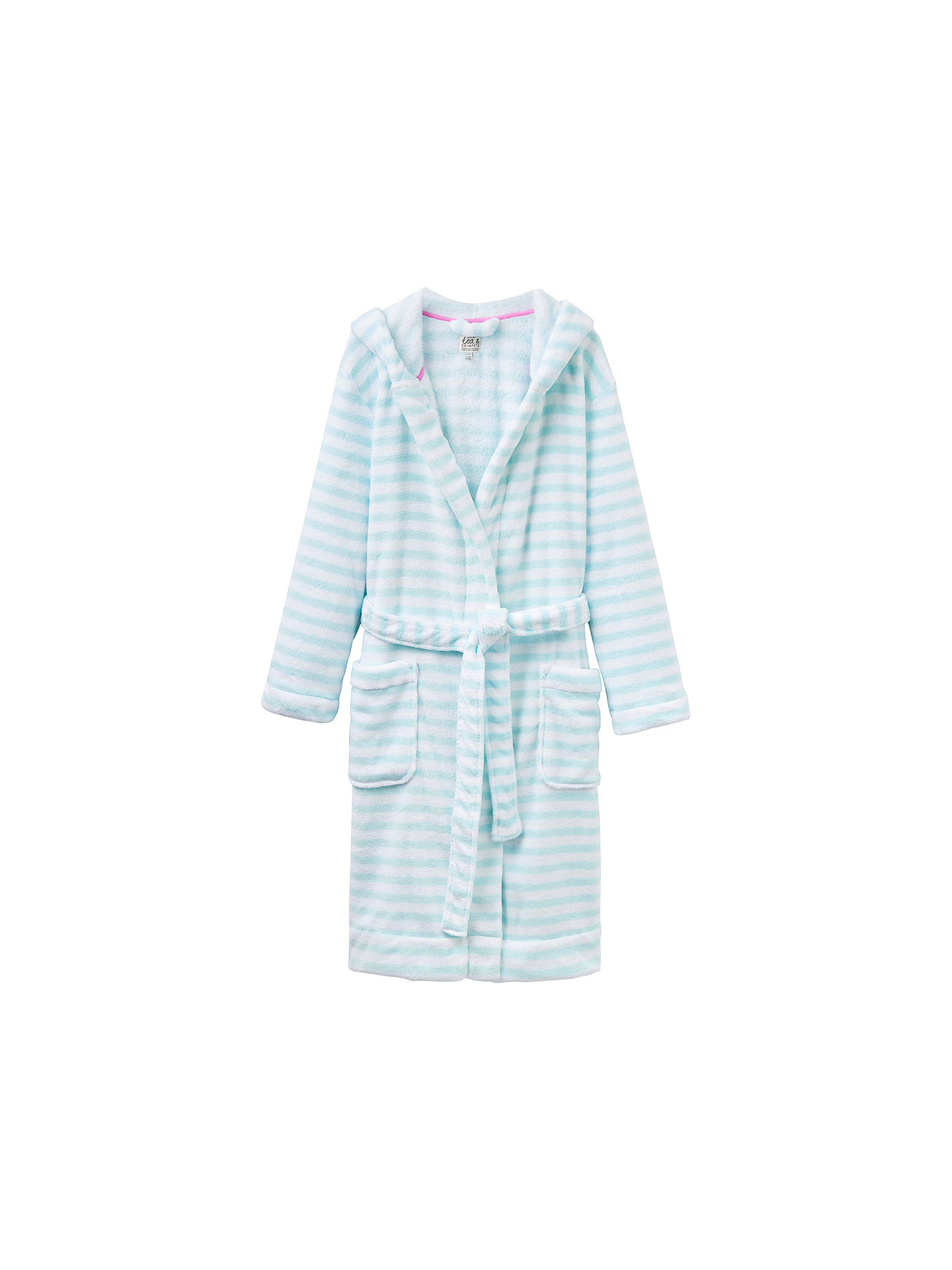 Joules Rita Dressing Gown, Aqua Stripe at John Lewis & Partners