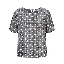 Buy John Lewis Silk Cross Hatch Spot Top, Navy Online at johnlewis.com