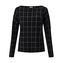 Buy Jigsaw Checked Brushed Jumper, Black Online at johnlewis.com