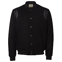 Buy Selected Homme Adam Varsity Bomber Jacket, Black Online at johnlewis.com